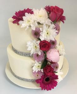 Wedding cake silver cascade