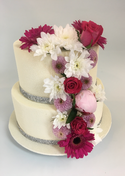 Wedding cake silver cascade